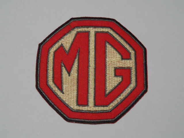 MOTORSPORTS RACING CAR SEW ON / IRON ON PATCH:- MG (e) RED & GOLD INITIALS
