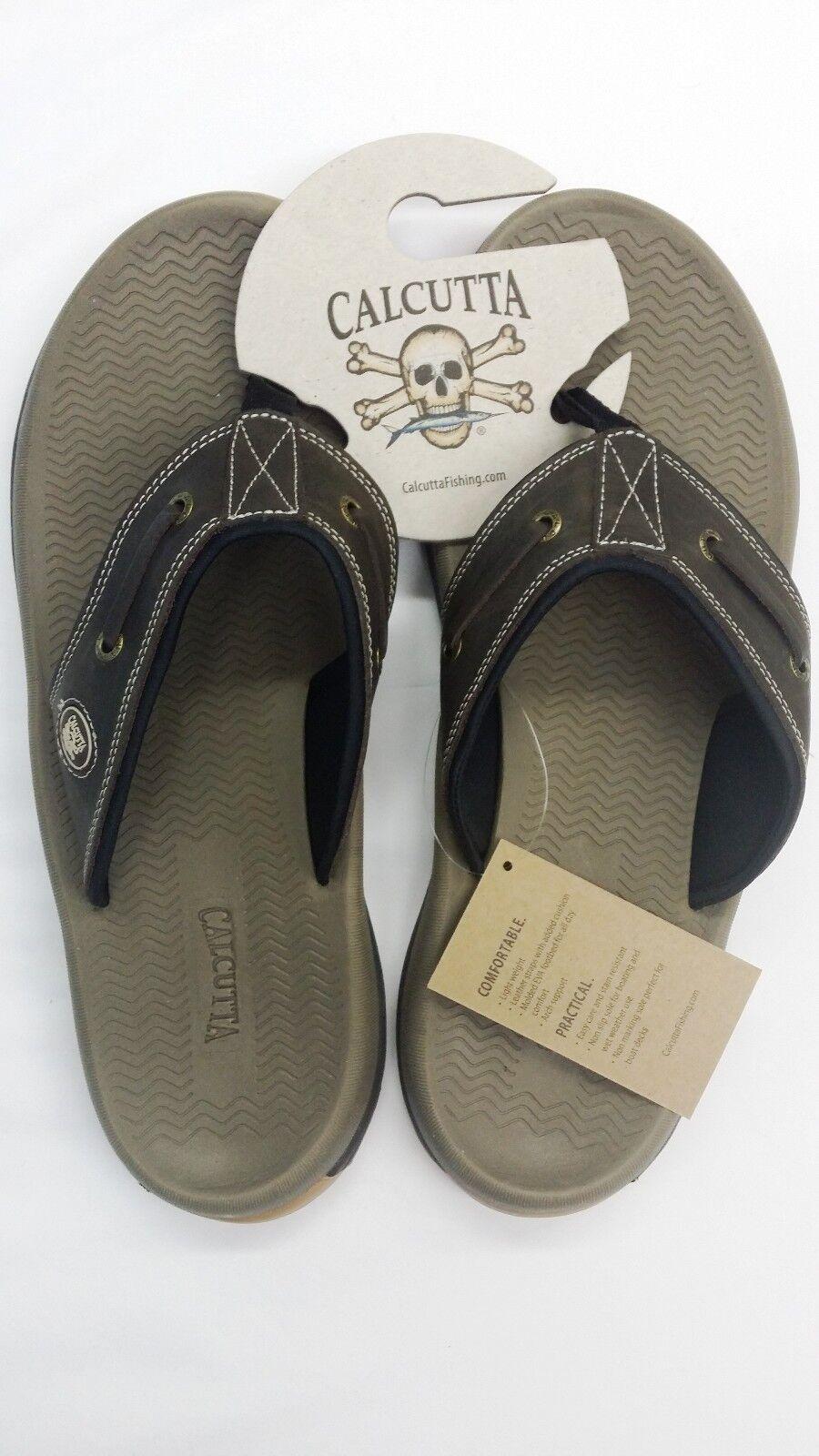 Calcutta Fishing blueeWater Sandal, Non Slip, Leather Straps, Tan Brown Mens