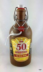 Tonflasche-50-Geburtstag-Buegelverschluss-versiegelt-Kraeuterlikoer-braun-0-5-Liter