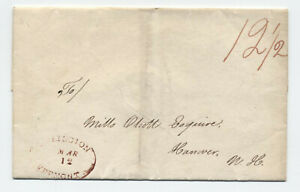 1831 Burlington VT oval stampless cover to NH [y3524]