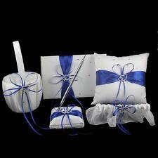 5Pcs/set Satin Wedding Decoration Ring Pillow/Flower Basket /Guest Book/ Pen Set