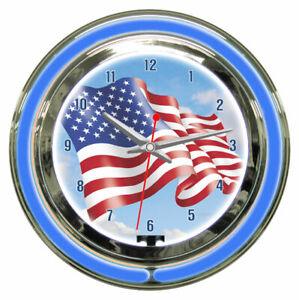 American-USA-American-Flag-Sign-2-Ring-Neon-Clock