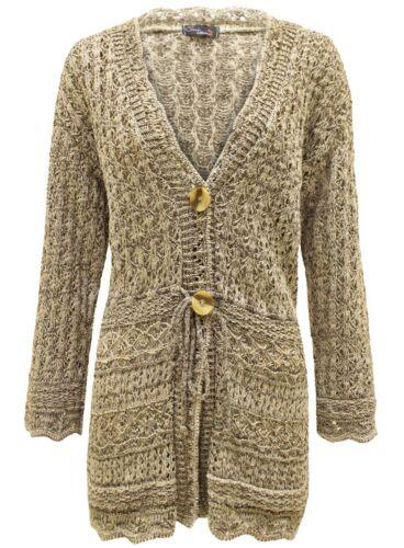GRANDES TAILLES Crochet Tricot Femmes Boyfriend Bouton String Shrug Cardigan Top