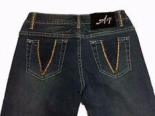 Womens Embellished Jeans Skinny Stretch Gold Swarovski Element Dark Wash Size 26