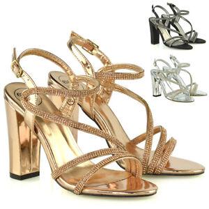 Sandalias de Mujer Bloque Talón con Tiras Señoras Diamante Noche Fiesta Nupcial Zapatos 3-8
