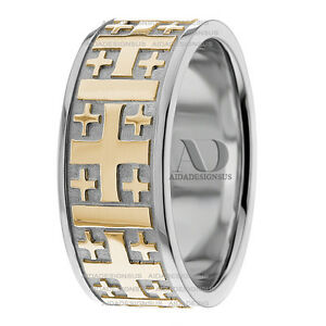 Image Is Loading Solid 10k Gold Two Tone Religious Wedding Ring