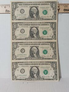 Sheet-of-4-uncut-1981-US-Mint-Connected-One-Dollar-bills-Genuine-Currency-a1