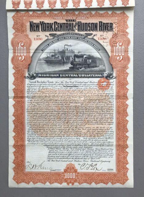 $10,000 New York Central /& Hudson River Railroad Company Bond Stock Certificate