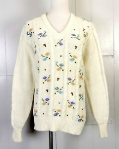 vtg-70s-80s-Steve-Mor-Pastel-Floral-Knit-V-Neck-Sweater-Cable-Knit-Kawaii-sz-44