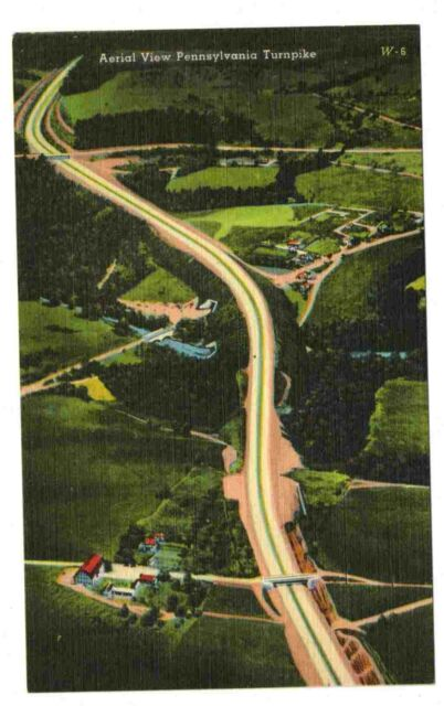 Undated Unused Postcard Aerial View Pennsylvania Turnpike PA Dream Highway