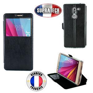 Etui-Rabattable-Simili-Cuir-Noir-et-Ouverture-Ecran-pour-Huawei-Honor-6X