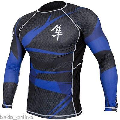 Hayabusa Mens Long Sleeve MMA Rash Guard Metaru 47 Compression BJJ Blue XL Sale