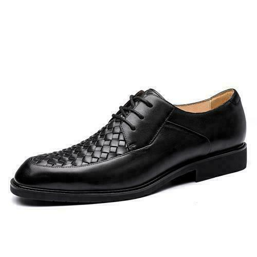 Details about  /Mens Dress Formal Business Real Leather Shoes Pointy Toe Office Lace up Weave SZ