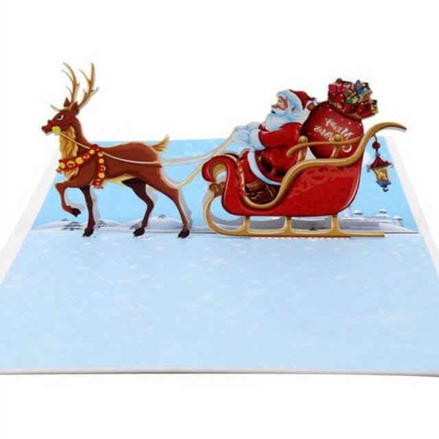 3D Pop Up Card Santa Claus Christmas Holiday Merry Christmas Cards Esdtu