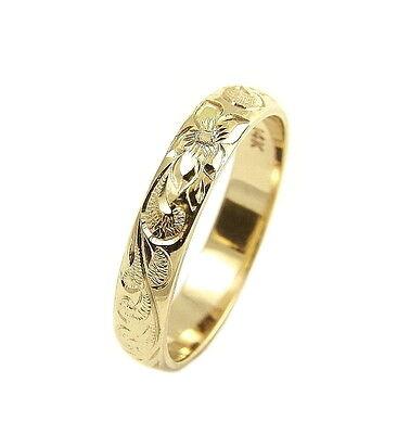 14K YELLOW GOLD CUSTOM HAND ENGRAVE HAWAIIAN QUEEN PLUMERIA SCROLL BAND RING 4MM