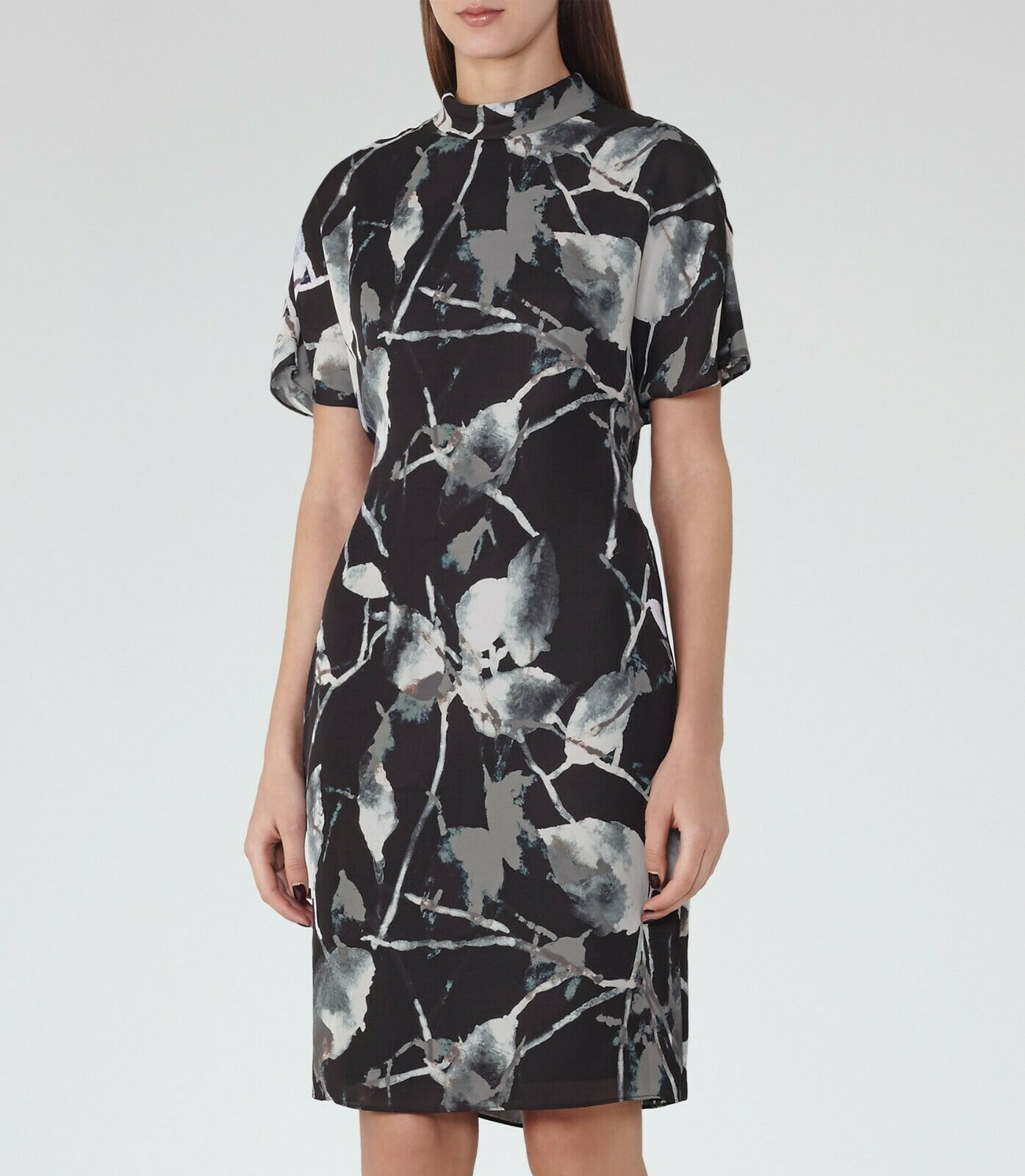 Stunning Reiss 'Becca' Printed Dress in bluee Size 8 RRP .00