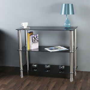 Black-Glass-3-Tier-Shelving-Unit-Shelf-Storage-Display-Cabinet-Metal-Chrome-Legs
