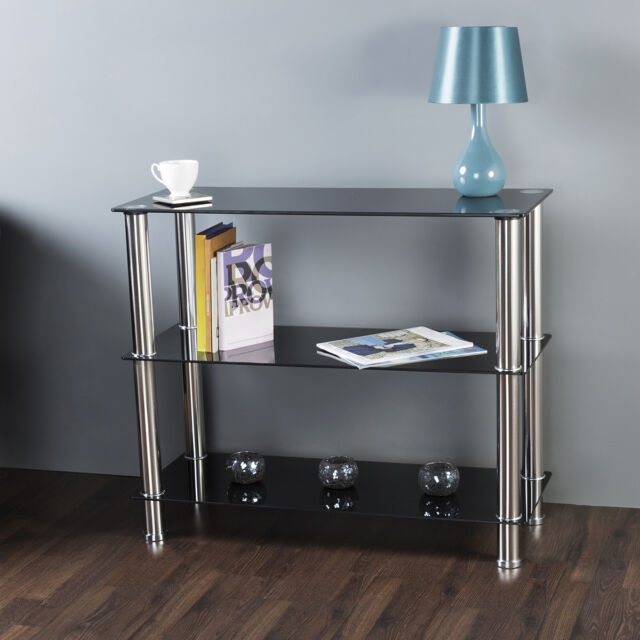 Black Glass 3 Tier Shelving Unit Shelf Storage Display Cabinet Metal ...