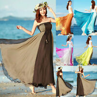 UK Womens Summer Boho Jersey Gypsy Long Maxi Sun Dress Chiffon Elasticated Skirt