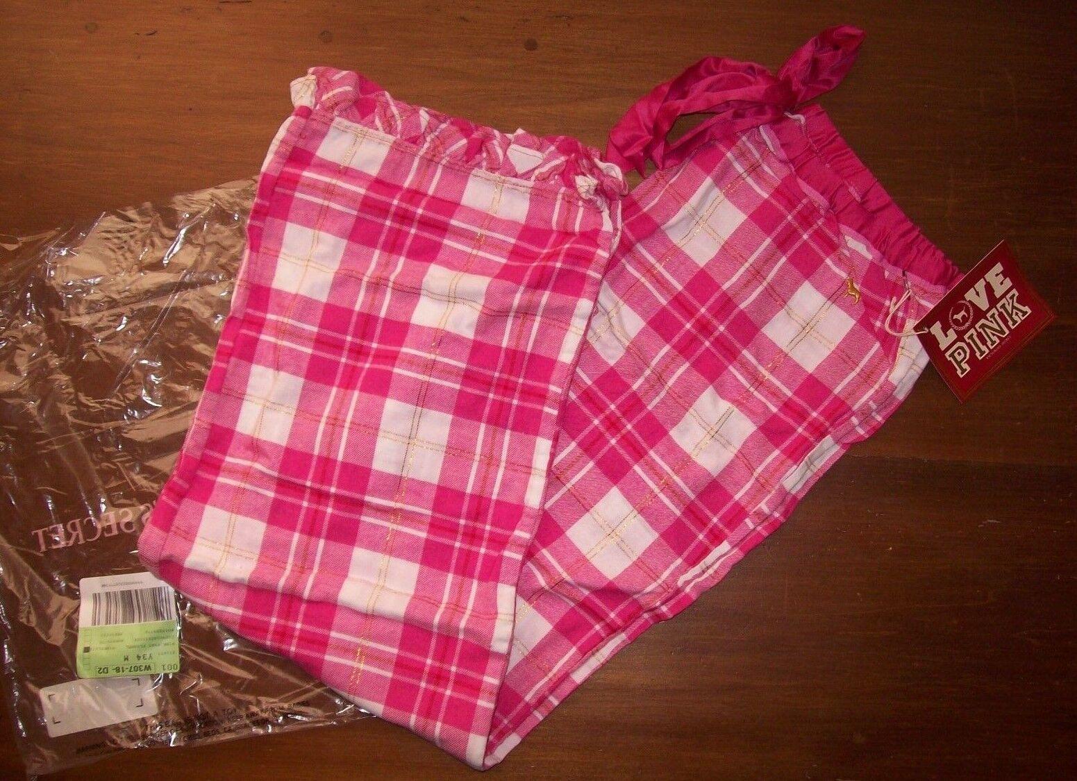 NEW 2008 Victoria's Secret PINK Flannel Ruffle Hem Sleep Pants Dog Logo Print M