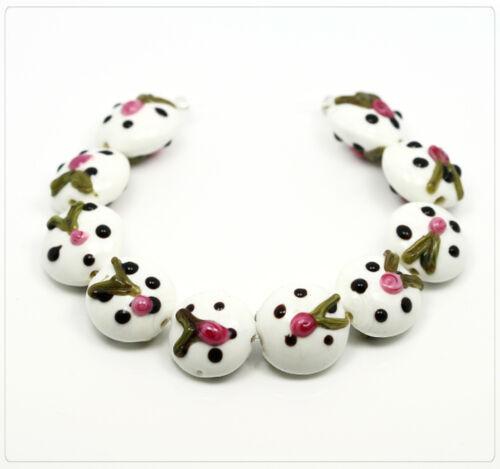 4x Lampwork Perles De Verre Bijoux Bricolage Perles Beads À faire soi-même Lentille 17 mm lb213