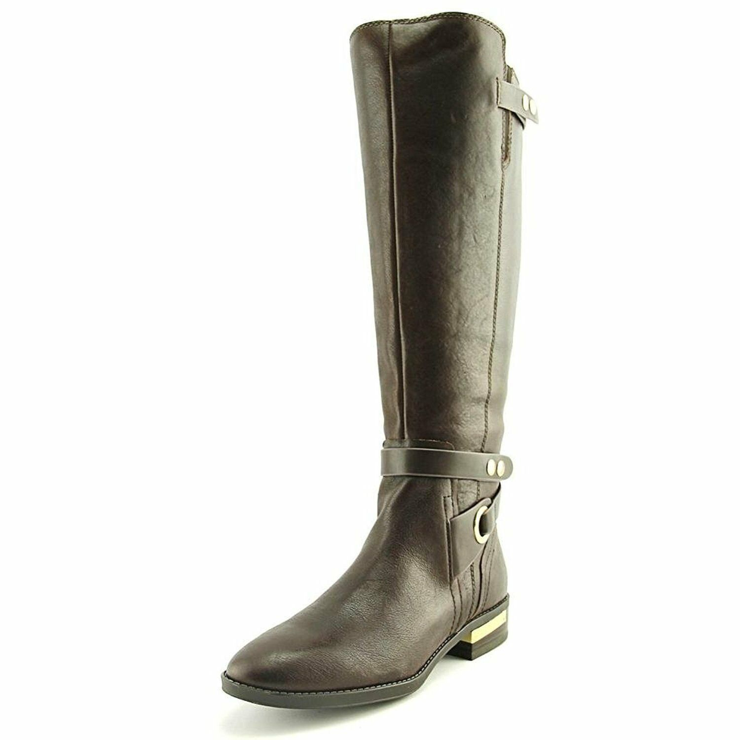 Vince Camuto Prini Round Toe Leather Knee High Boot, Coffee Grind Easy Rider/New