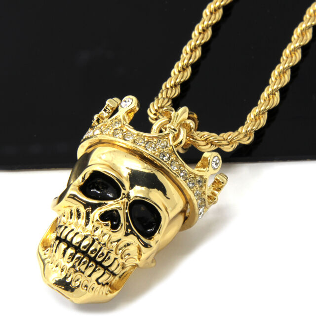 Mens gold iced cz king head skull pendant 24 rope chain hip hop mens gold iced cz king head skull pendant 24 rope chain hip hop necklace d505 aloadofball Gallery