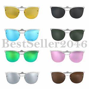 Polarisierte-Glaeser-Clip-on-Aufklappen-Sonnenbrillen-Metallrahmen-Brille-UV400