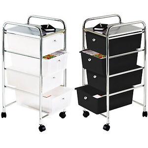 Image Is Loading 4 Drawers Storage Trolley On Wheels Metal Plastic