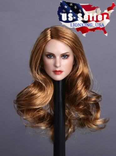 1//6 Female Head Sculpt Long Curly Hair For Phicen Hot Toys Custom Figure ❶USA❶