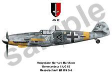aviation art luftwaffe pilot photo postcard Gerhard Barkhorn colour WW2 JG 52