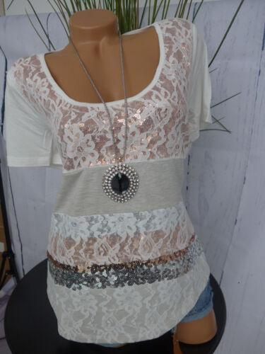 Mandarin Shirt Bluse mit Paillette Gr 34-42 Weiß mit Muster NEU 518
