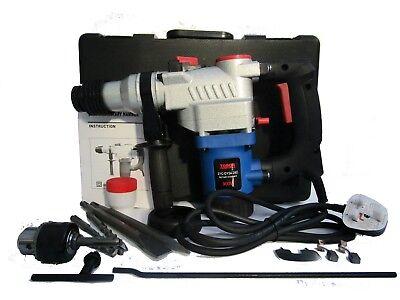 1000W ELECTRIC ROTARY HAMMER DRILL KIT SDS DRILL CHISELS 3 Drill Bits 8//10//12mm