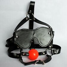 Faux Leather Straps Open Mouth Red Lip Sleeve Ball Gag Head Hood Fancy Dress Toy