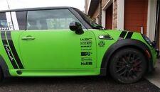 14Pcs Racing Sponsors Logo For Any Car And Mini Cooper Vinyl Decals BLACK COLOUR