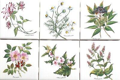 "Used 4/"" x 4/"" Stoneware Style Tiles Herb Tiles Various Herb Names /& Pics"