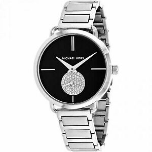 a704b852854e Michael Kors Portia Black Dial Stainless Steel Ladies Watch MK3638 ...