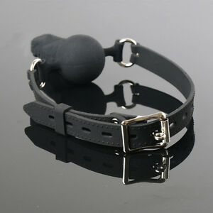 Oral-Plug-Leather-Band-Open-Mouth-Penis-Bite-Ball-Gag-Dildo-Restraints-Bondage