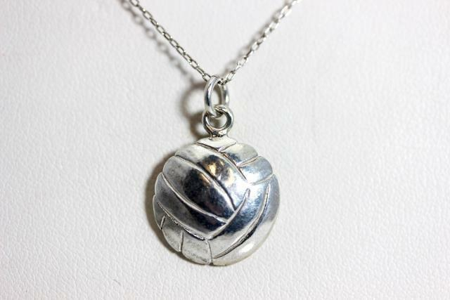Sterling Silver 3-D Enameled Volleyball wLobster Clasp Charm New Sports Pendant