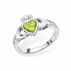 Irish-Claddagh-Ring-Sterling-Silver-Peridot-Friendship-Love-925-hallmarked