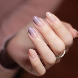 Image Is Loading New French Style 24pcs False Nails Light Purple