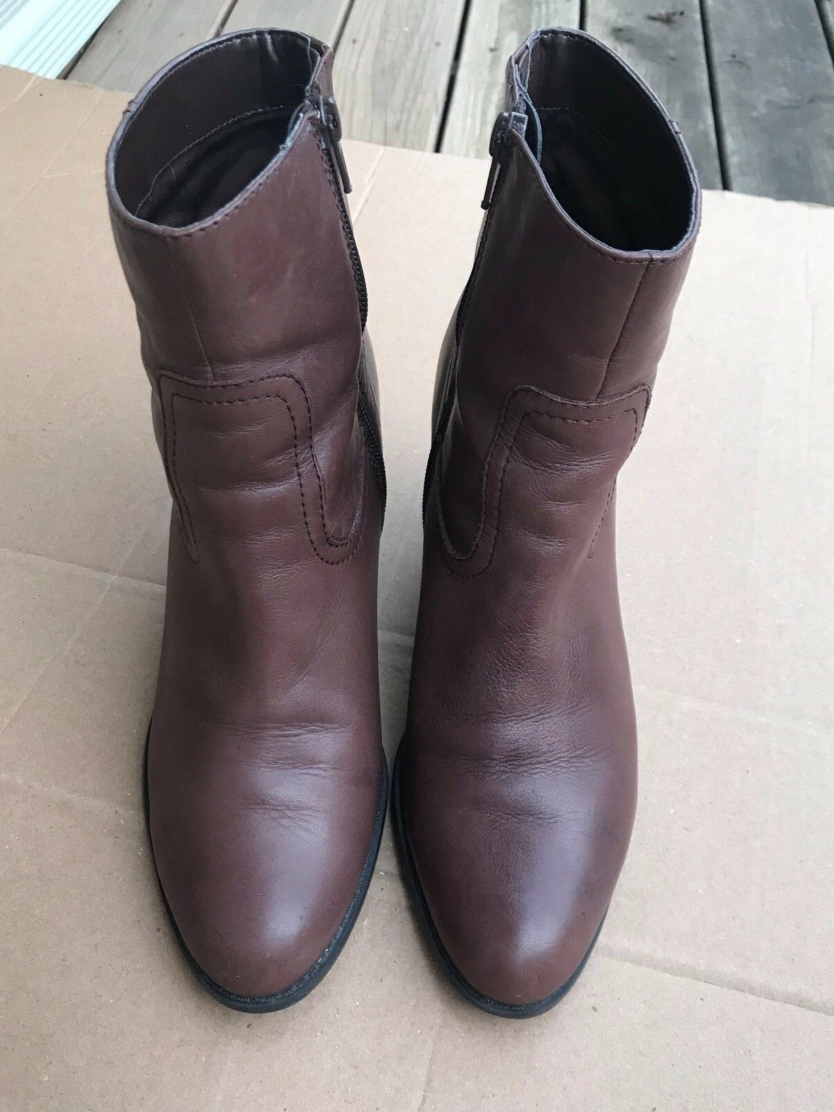 A.N.A. A NEW APPROACH Womens Brown Leather Side Zip Ankle Boots 8.5 M