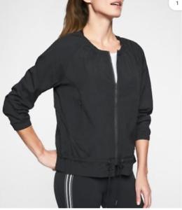 Athleta Avenue Women's Black Lightweight Jacket Full Zip Pocket Size L Large