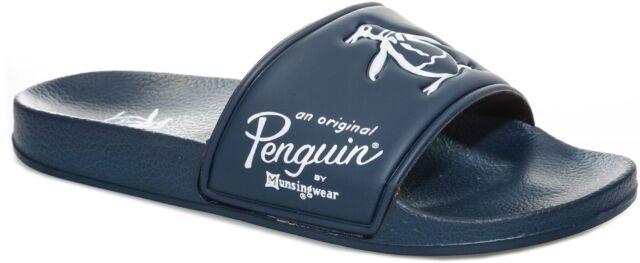 Penguin Passer Mens Sliders Navy Gym Shower Slides Sports Pool Beach Authentic