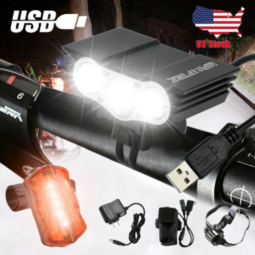 Rechargeable T6 Mountain Bike Lights    Bicycle Torch Front /&Rear Lamp Set US