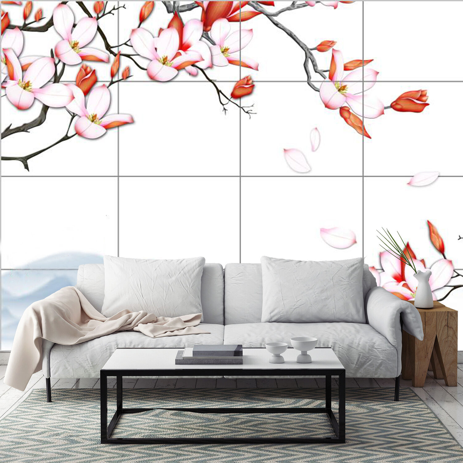 3D YPink spring flowers Wall Paper wall Print Decal Wall Deco Indoor wall Mural
