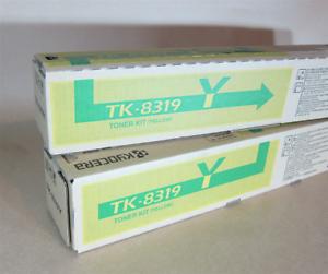 [0359*] TWO (2x) KYOCERA TK8319Y YELLOW TONER CARTRIDGES  ( RRP>$135)