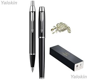 Premium Pen Gift Set Black with Chrome Trim Finish IM Ballpoint & IM Rollerball