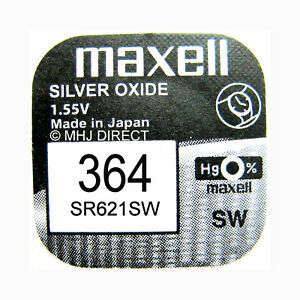 1-x-Genuine-Maxell-SR621SW-364-AG1-SR60-Watch-Battery-Silver-Oxide-Use-By-2020