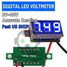 Blue Led Digital Voltmeter Car Motorcycle Voltage Volt Gauge Panel Meter 3v30v